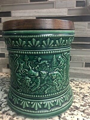 "Marzi And Remi Vintage Tobacco Humidor Green With Wood Top Germany 5 3/4"" Tall!!"