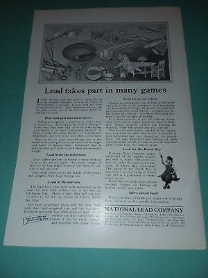 Lead Takes Part In Many Games Oct 1923 National Lead Company Dutch Boy Painter