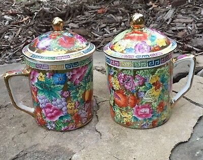 Chinese Pair of Famille Rose Mille-fleurs Republic Tea Coffee Lid Covered Mugs