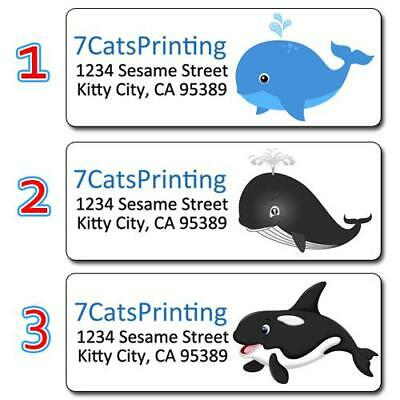 30 Personalized Whale Return Address Labels Blue Whale Gray Whale Orca Killer