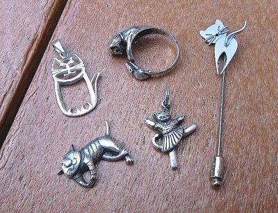 Lot 5 Pcs Sterling Silver Cat Jewelry; 3 Charms, Stick Pin, Cat & Mouse Ring