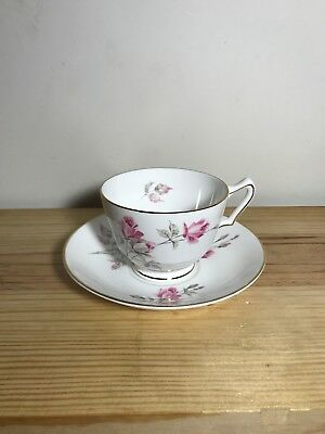 CROWN STAFFORDSHIRE TEA CUP AND SAUCER ENGLAND ~ Fine Bone China ~ Roses