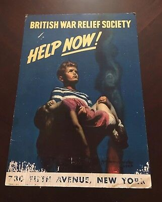 "Original Wwii Poster British War Relief Society ""Help Now"" New York"