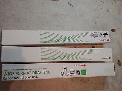 3x Fuji Xerox Wide Format Drafting Rolls A0 841mm suits Designjet Plotters etc
