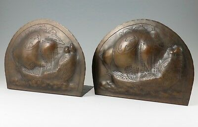 Harry St John Dixon Hammered Copper Acid-Etched Galleon Ship Bookends