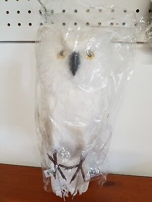 "New Large White Feathered Owl 16"" Tall"