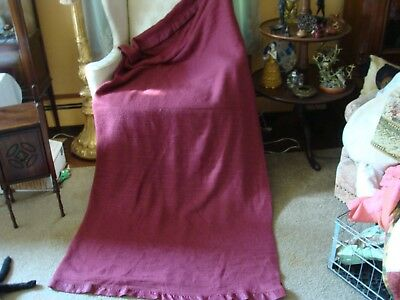 """VINTAGE Acrylic WOVEN THERMAL Blanket Burgundy Queen Full Waffle Weave 82""""x88"""""""