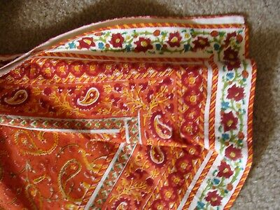 Pottery Barn Paisley & Floral Print Mix Table Cloth Coral & Cinnabar NWOT 70x108