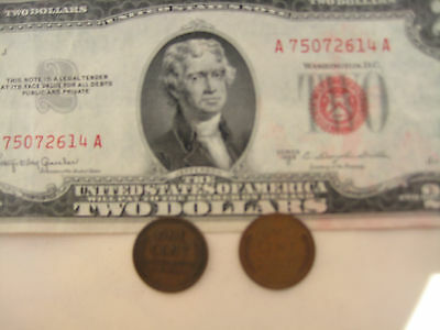 3 =1+2 RARE BIG SALE: 1 Red Seal US$2 Bill Paper Money +2 Old One Cent USA Coins