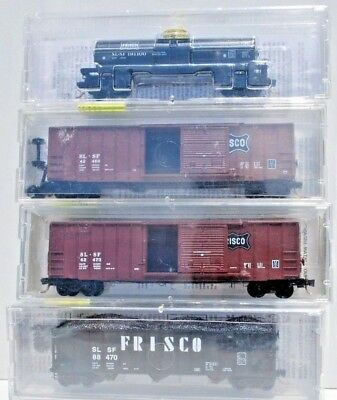 Mixed Set of 4 x N Scale Freight Cars. - Frisco.