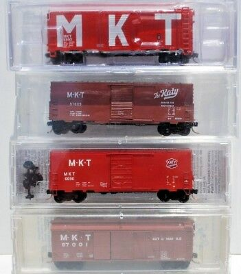 Mixed Set of 4 x N Scale Freight Cars - M-K-T