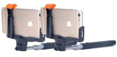2 X Minisuit Selfie Stick Pro with Built-In Remote for Apple & Android - Black