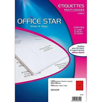 Office Star Box of 1400 - Multi-Purpose Labels - 99,1x38,1 mm - Red (os43431r)