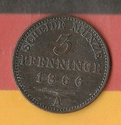 1866 German State- Prussia- 3 Pfenning- Old pre-Germany German Coin