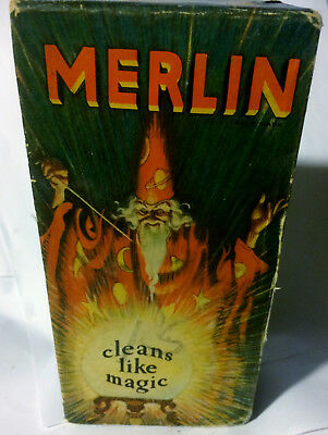Rare 1929 MERLIN Cleans Like Magic Dish Soap Unopened 14 oz Box Wizard Graphics