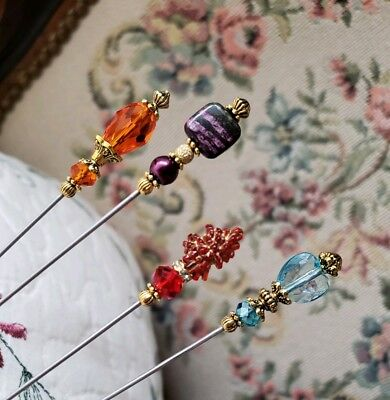 Hat Pin Lot Antique Vintage Inspired Victorian 4 Mixed Beads Customize Length