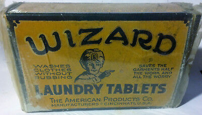 Rare Vintage 1920's WIZARD Laundry Tablets Unopened Box