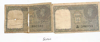 Two 1944 Indian Rupee banknotes WWII Serial R88 396154, K?? 460787