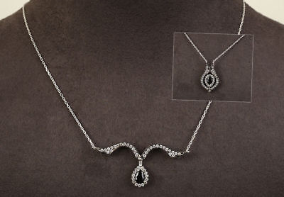 AAA Quality 925 Sterling Silver Jewelry Black Spinel & Cz Necklace