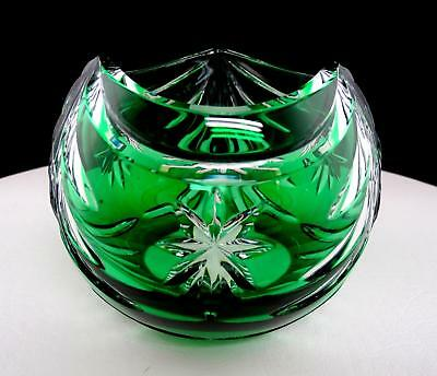 """Lenox Signed Forham Crystal Green Cased Cut To Clear 4 3/4"""" Rose Bowl"""