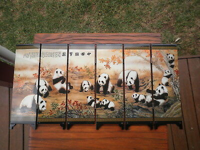 China lacquer ware folding screen Giant Panda gold paint art miniature