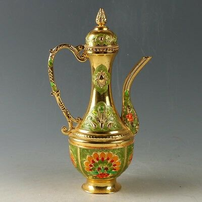 Chinese Exquisite Cloisonne Teapot Carved Peacock