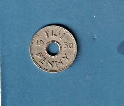 1950 Fiji One  Penny. Low Mintage Key Date In Very Good Condition.