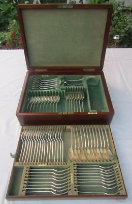 Victorian Walker & Hall Canteen A1 Silver Plated Rattail Cutlery & Box 71 Pieces