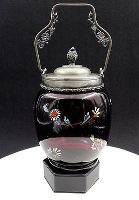 "Victorian Amethyst Glass Enamel Floral Pewter Handled 10 1/4"" Biscuit Barrel"