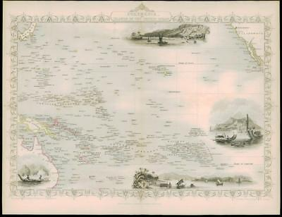 "1850 ""POLYNESIA PACIFIC OCEAN"" Map by Tallis GUINEA HEBRIDES TONGA SANDWICH"