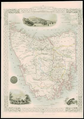 "1850 Illustrated Antique Map ""VAN DIEMEN'S ISLAND TASMANIA""  by Tallis (217d)"