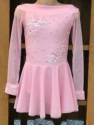 Pink Competition Ice Skating Roller Dance Dress Age 7 8 9