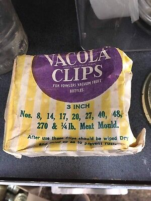 """Vintage New In Original Packaging Set Of Fowlers Vacola 3"""" Clips X 12"""