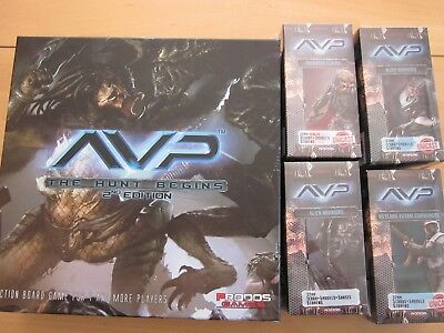 AVP Alien vs Predator: The Hunt Begins 2nd Edition + 4 Boxen - unbespielt.