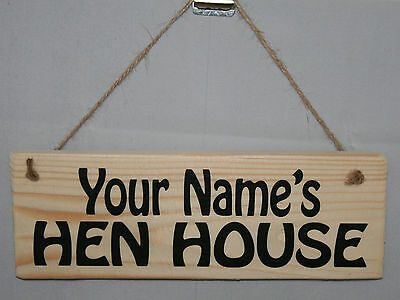 Personalised HEN HOUSE Chicken Coop Run Eggs Outdoor Hanging Sign Plaque Farm