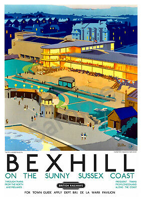 Bexhill VINTAGE RAILWAY POSTER Tourism Travel ART PRINT Sussex A3 A4