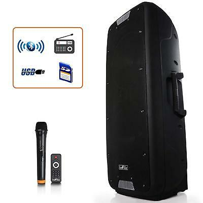 """10"""" Bluetooth Portable Pa Party Speaker System Wireless Mic Microphone Remote"""