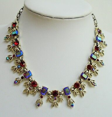 Gorgeous vintage gold metal, ruby paste & a.b crystal collar necklace