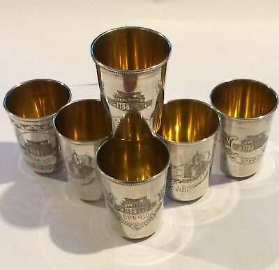 Solid Silver Set Of 6 Russian Vodka Cups