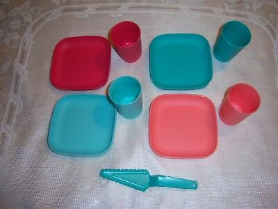9 pc TUPPERWARE TUPPERTOY DISHES - 4 PLATES 4 GLASSES & Serving Cake Knife