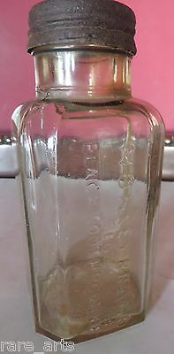 Vintage Monkey brand Black tooth powder Glass Bottle Signed Tin lid Square Early