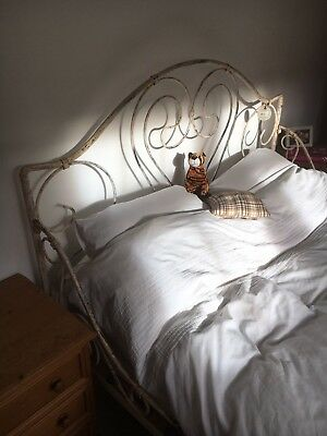 Shabby Chic white metal king size bed frame