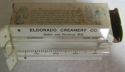 Vintage Eldorado Ohio Creamery Co Advertising Rain Gauge with original Box