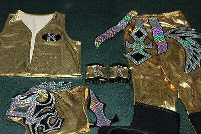 KALISTO GOLD KIDS SUIT 6-10 year LYCRA FANCY DRESS COSTUME OUTFIT CHILDREN FREE.