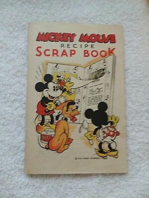 "Vintage Mickey Mouse Recipe Scrap Book Bell ""x-L"" Bread"