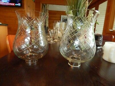 Vintage Antique BEAUTIFUL Pair of Etched Glass Hurricane Globes EXCELLENT COND