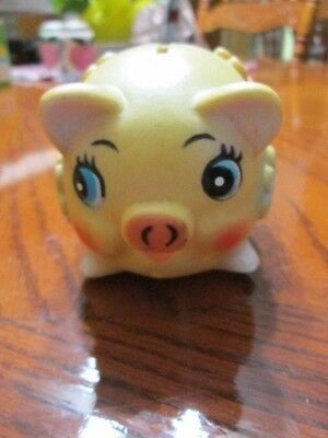 Vintage Hard Plastic small cute colorful piggy bank with flowers curly tail