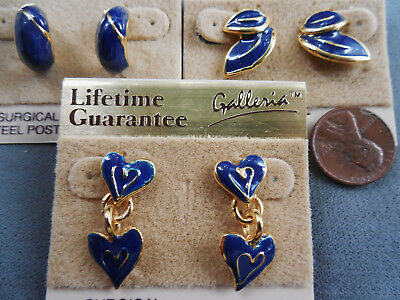 Vintage NOS lot of 3 prs asst small classic navy enamel pcd earrings D32