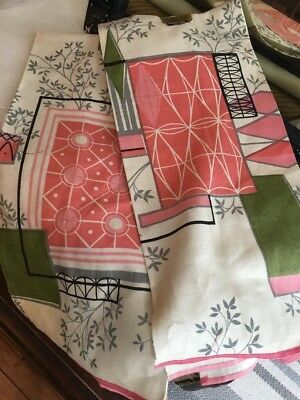 Vintage Mcm 50s Hardy Craft Eames Pink Green Retro Kitchen Towel