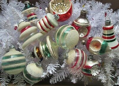 Lot of Vintage SHiny Brite Xmas Tree Orns/ UNSILVERED  & mica & tops &indents